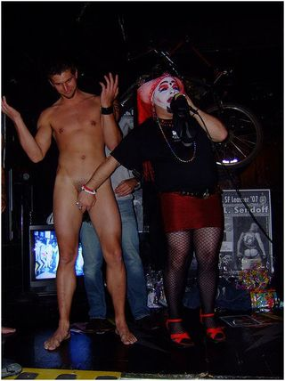Stripping for charity at an AIDS Lifecycle fundraiser in 2007